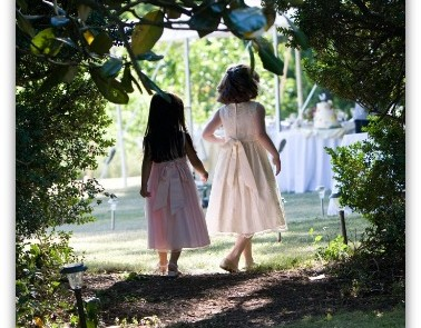 Flower Girls at a Garden Wedding at the Inn on Poplar Hill