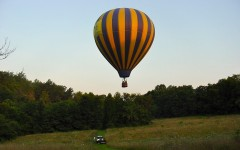 Hot Air Ballooning over our wild flower meadow
