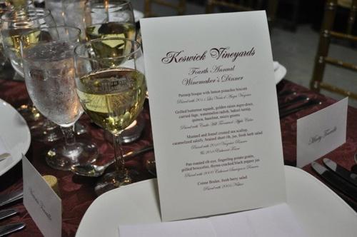 Keswick Wine Dinner Menu