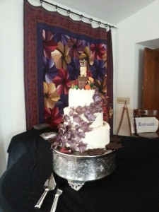 Wedding cake with edible leaves