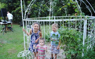 children playing in gazebo